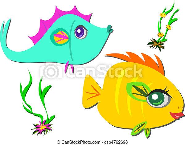 Two Fish Friends taking a Swim - csp4762698