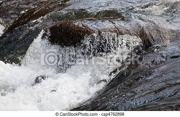 Rushing river over waterfall - csp4762898