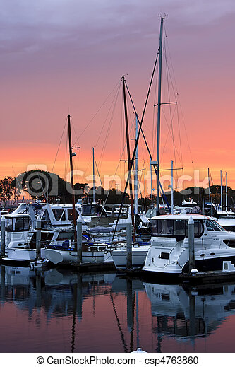 Sunset on the San Diego Harbour - csp4763860