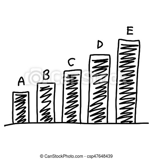 Business bar graph create in the hand drawn isolated on white background.