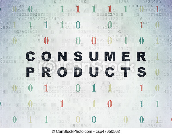 Business concept: Painted black text Consumer Products on Digital Data Paper background with Binary Code