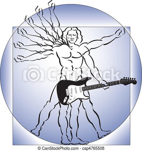 vitruvian man with guitar - csp4765508