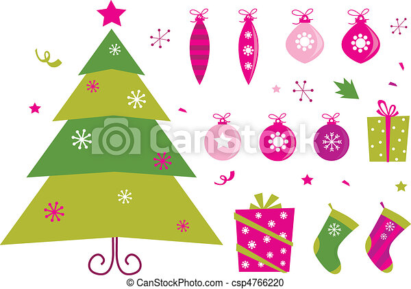 Pink and green retro christmas icon - csp4766220