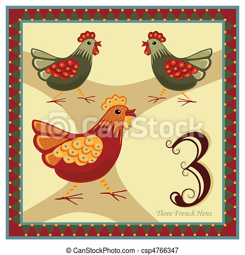 Clip Art Vector of The 12 Days of Christmas - 2-nd day - Two ...