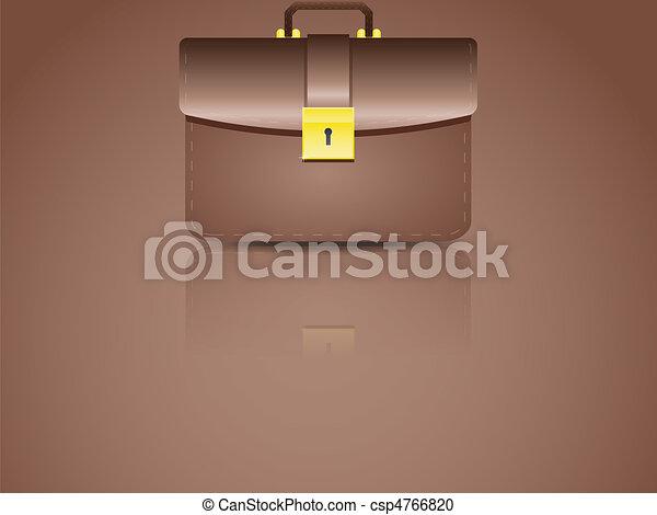 realistic brown briefcase - csp4766820