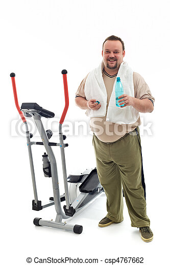 Man standing by a training device resting - csp4767662