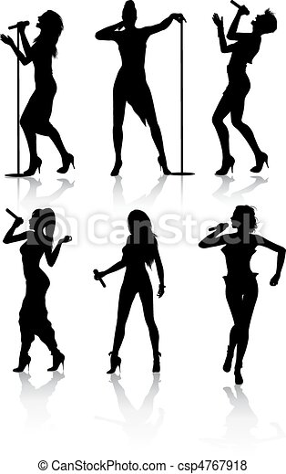 Female singers silhouette set - csp4767918
