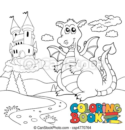 Coloring book with big dragon 2 - csp4770764