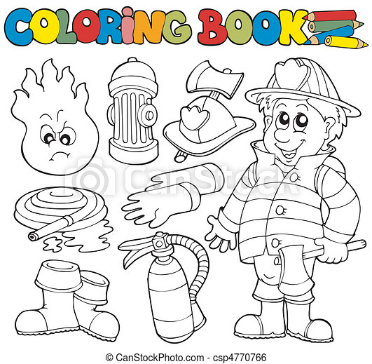 Coloring book firefighter collection - csp4770766