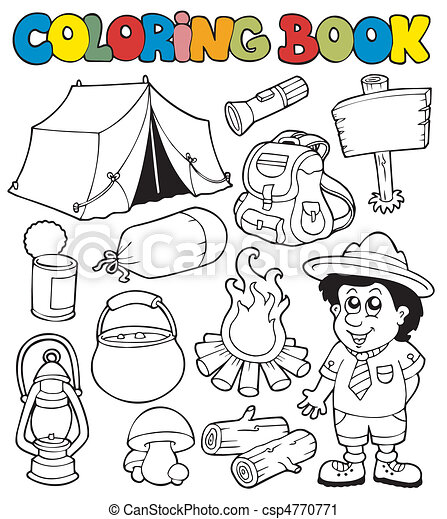 Coloring book with camping images - csp4770771