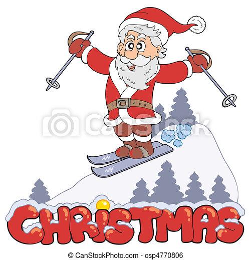 Christmas sign with skiing Santa - csp4770806