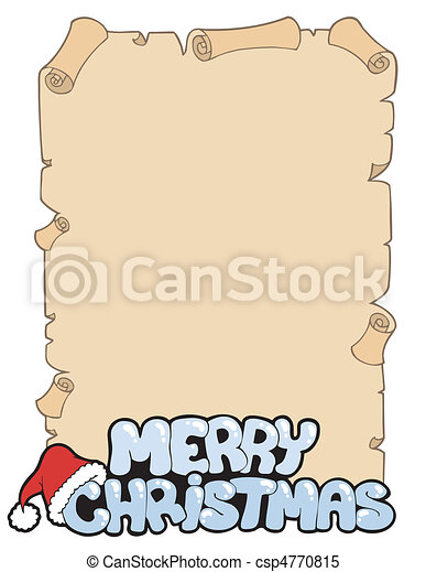 Parchment with Merry Christmas sign - csp4770815