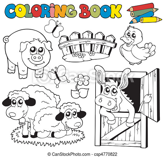 Coloring book with farm animals 2 - csp4770822