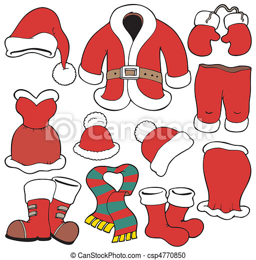 Various Santa Claus clothes - csp4770850