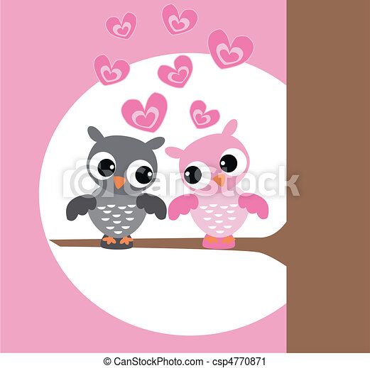 Cute owl love drawing - photo#26