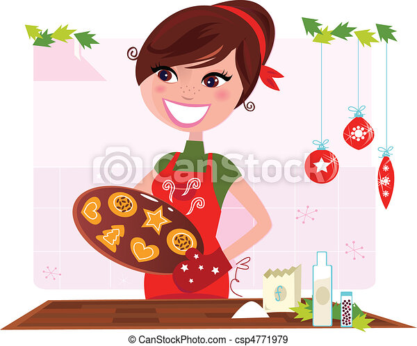 Woman preparing christmas cookies - csp4771979