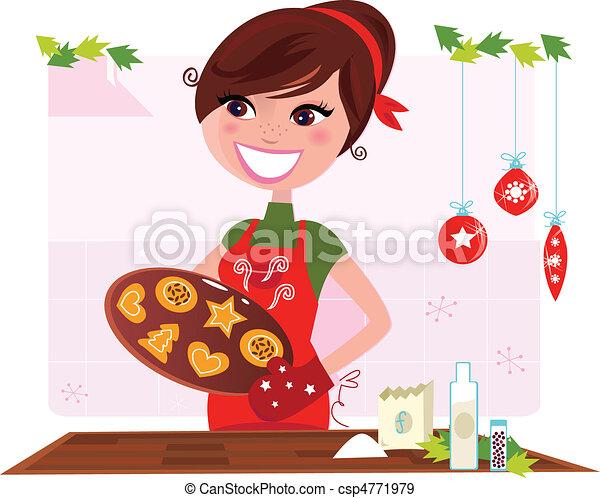 Woman preparing christmas cookies - csp4771979