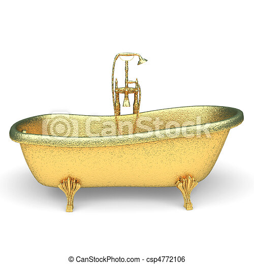 isolated golden Luxury bath   - csp4772106
