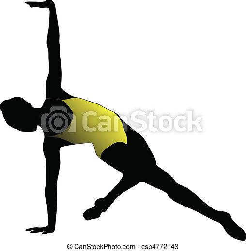 Dance girl ballet silhouettes - vector - csp4772143