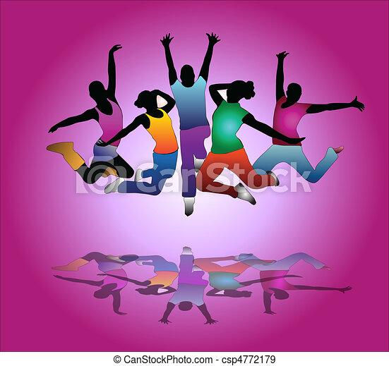 set of group peoples dance . flyer - csp4772179
