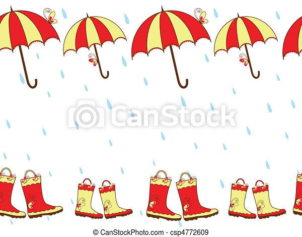 Rain boots and umbrella seamless - csp4772609