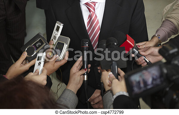 business meeting conference journalism microphones - csp4772799