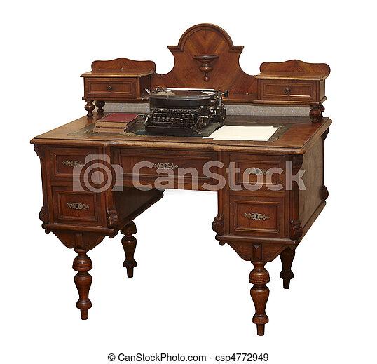 骨董品, 古い, グランジ, テーブル, 家具 - csp4772949