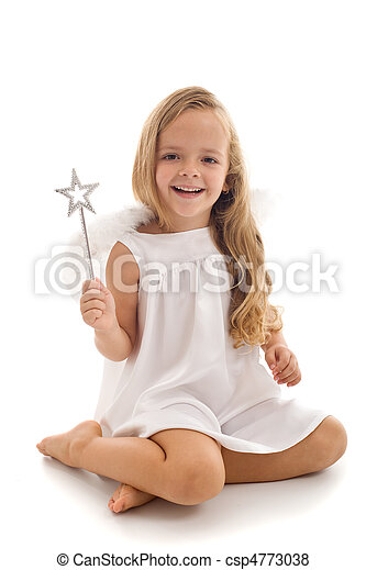 Little fairy angel with magic wand - csp4773038