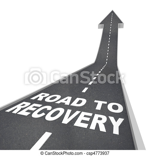 Road to Recovery Words on Pavement - Up Arrow - csp4773937