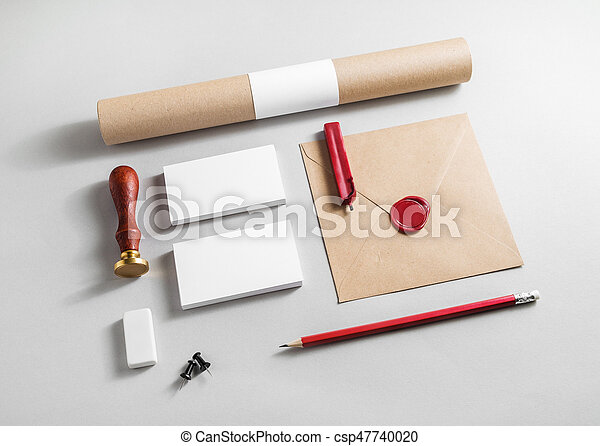 Corporate identity elements on paper background. Blank stationery set. Branding mock up. Blank objects for placing your design.