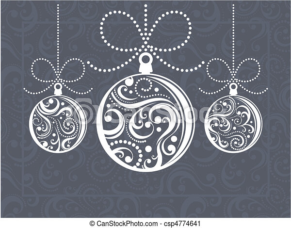 christmas balls greeting card - csp4774641