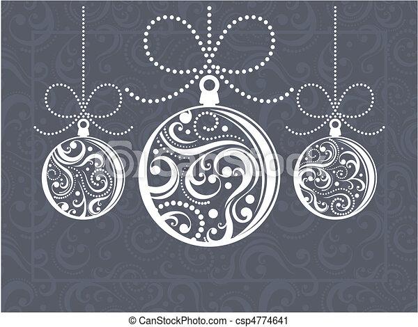 christmas balls greeting card - csp4774641