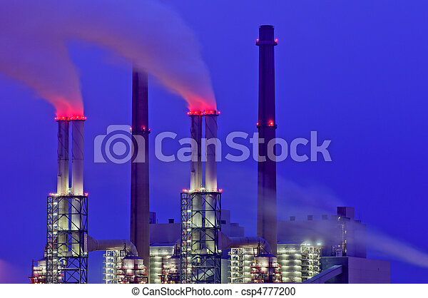 Power plant chimneys at night - csp4777200