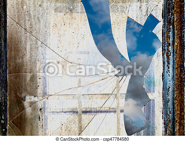 Sky behind dirty and broken window - csp47784580