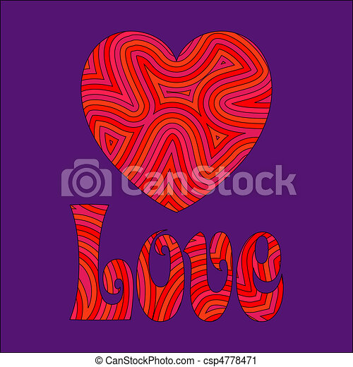 Love & Heart in Groovy Swirls - csp4778471
