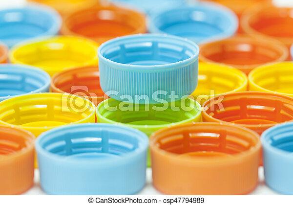 Colorful plastic bottle screw caps - csp47794989
