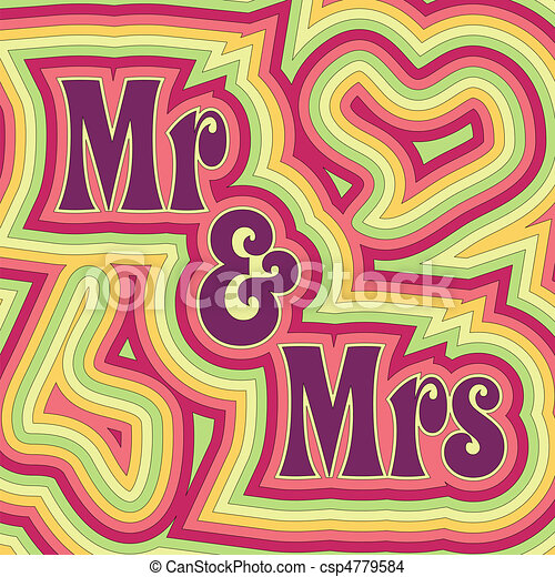 EPS Vector of Groovy Mr & Mrs - 60\'s retro wedding or anniversary ...