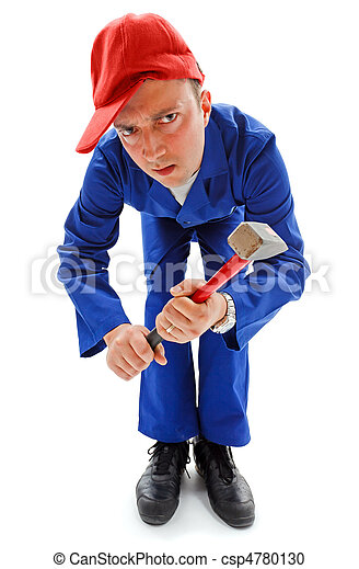 Awkward repairman with hammer - csp4780130