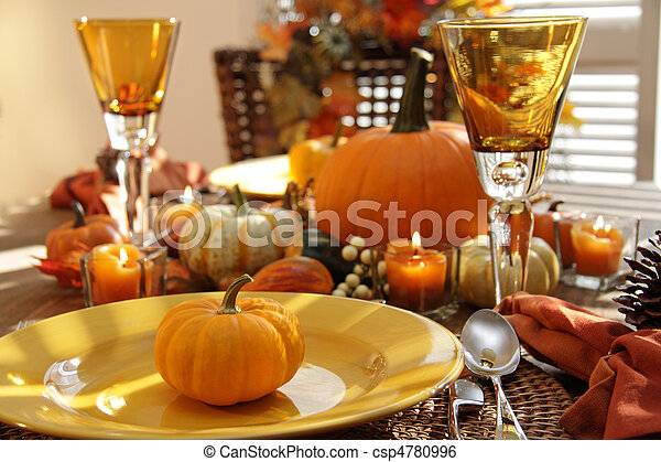 Place settings ready for Thanksgiving - csp4780996