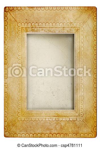 Weinlese, Rahmen, weißes, gegen, foto - csp4781111