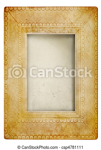 Vintage photo frame against white - csp4781111