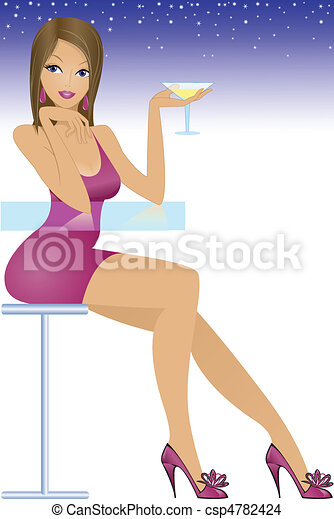 girl sitting at the bar - csp4782424