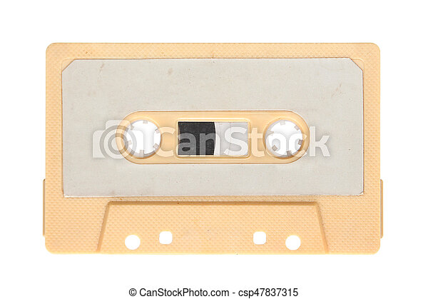 Yellow audio cassette isolated on background - csp47837315