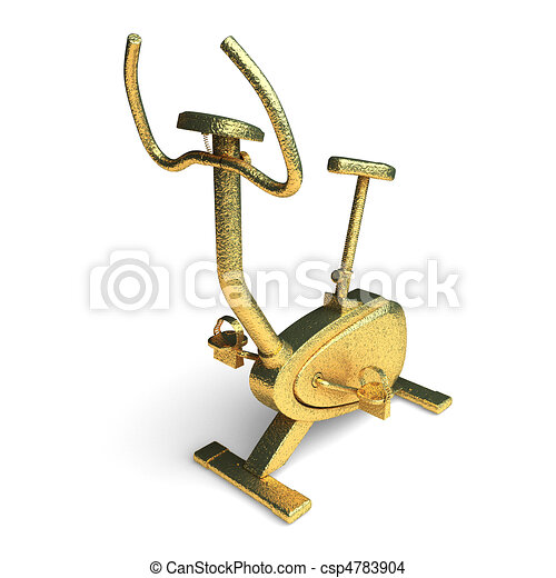 isolated golden stationary bicycle - csp4783904