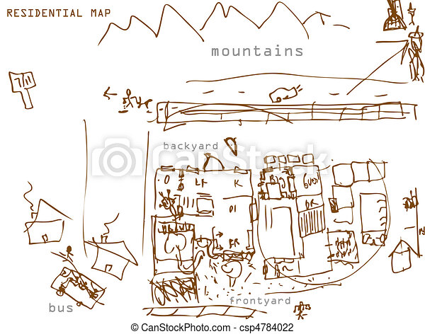 Residential Map Drawing - csp4784022