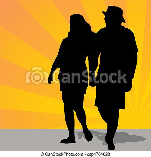 Man Woman Walking Outdoors - csp4784028