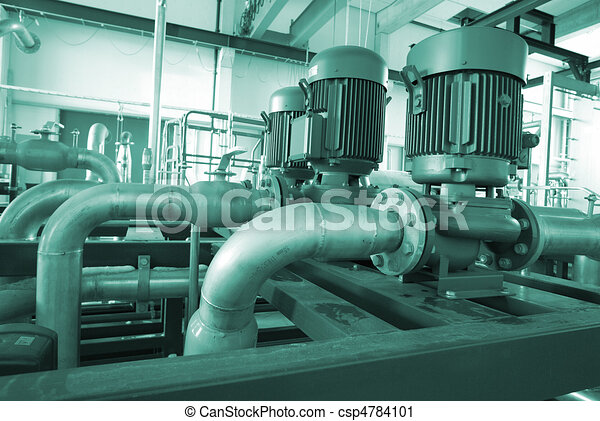 Industrial zone, Steel pipelines, valves and ladders - csp4784101