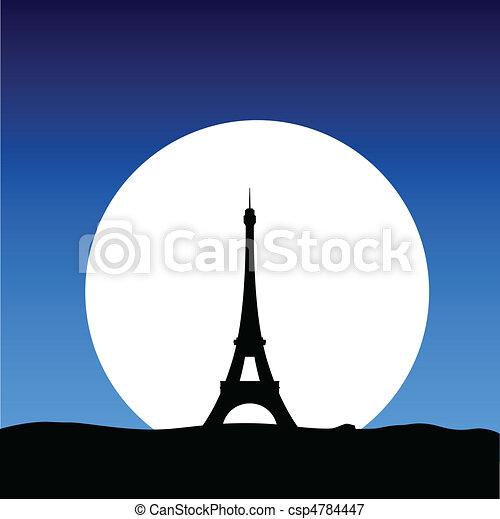 eiffel tower on the moon - csp4784447