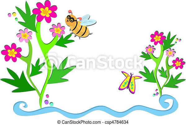 Eps vector de flores plantas abejas aqu es un - Marcos para plantas ...