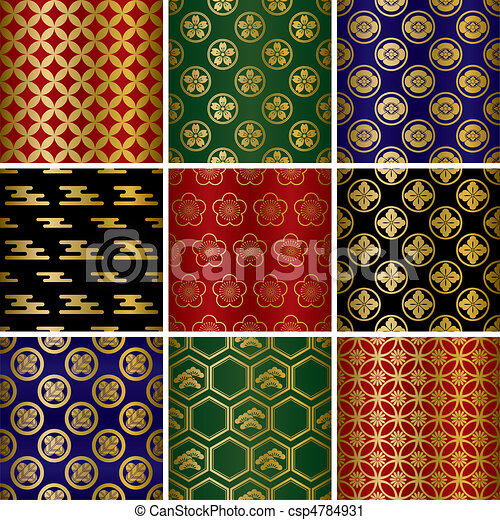 Japanese traditional patterns set - csp4784931